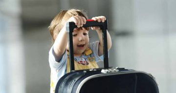 Little Cute Kid With Bag On Airport Traveling