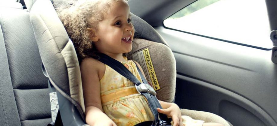 Young Cute Female Child In Back Seat Car Set Compressor